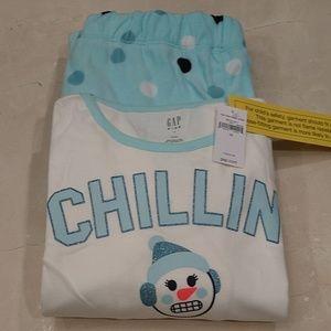 Nwt gap kids PJ set. Fleece bottom cotton top sz14